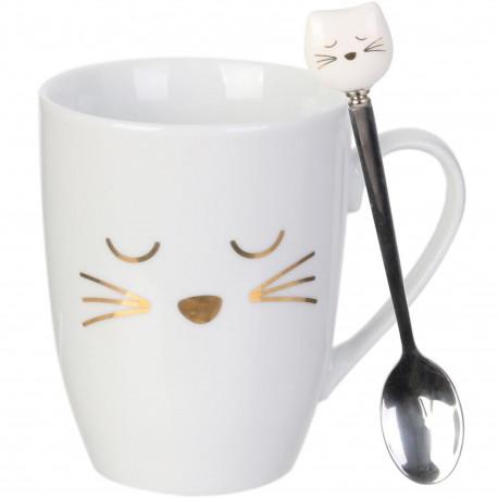 Mug avec cuillère Chat Blanc doré et gris chrome