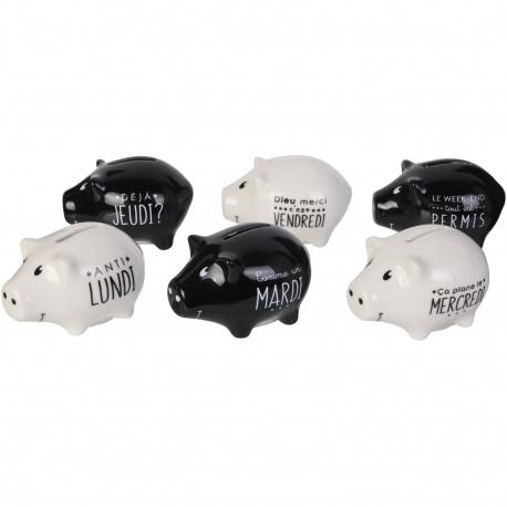 Tirelires Mini Cochons Semainier Le budget de la semaine Coffret de 6 assorties Blanc et noir