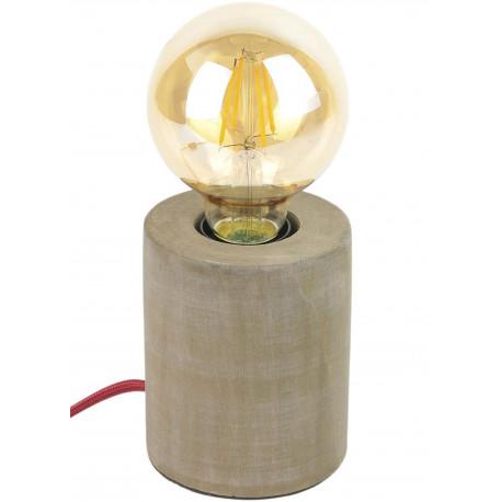 Lampe Cylindre Bois vieilli Marron Câble tressé tissu rouge