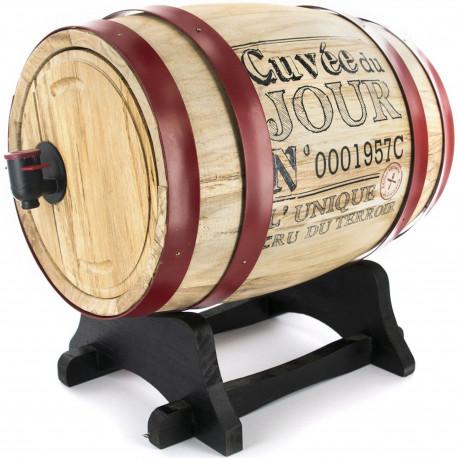 Fontaine à boisson Distributeur robinet Cave Tonneau de vin Bois Beige et gris ou noir ou rouge