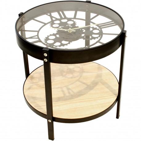 Table basse d'appoint ronde Horloge Noir beige et transparent Petit modèle
