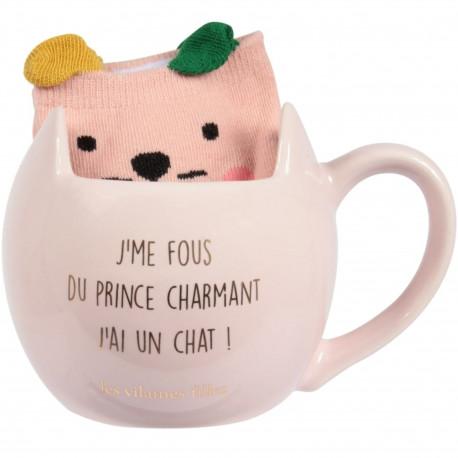 Coffret Mug et Chaussettes J'me fous du prince charmant J'ai un chat Rose