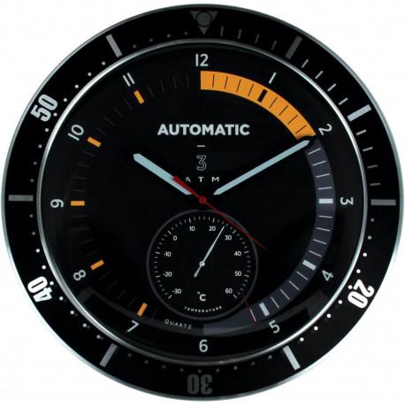Horloge murale ronde Montre Avec température intérieure Noir et gris inox brossé