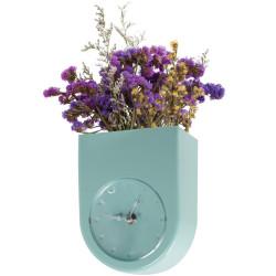 Horloge murale Pot de fleurs Bleu vert Menthe
