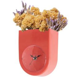Horloge murale Pot de fleurs Rouge