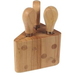 Bloc Forme Gruyère Avec couteaux et fourchette à fromage Set de 3 assortis Bois Beige