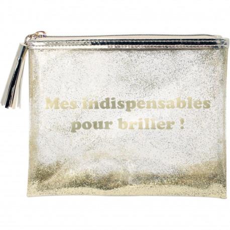 Trousse Pochette à maquillage Mes indispensables pour briller Doré et transparent à paillettes dorées