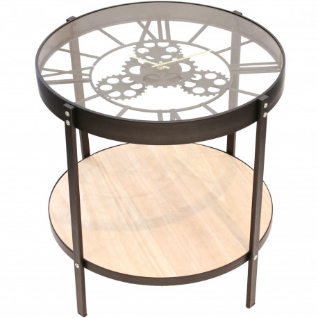Table basse d'appoint ronde Horloge Noir beige et transparent Grand modèle