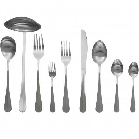 Ménagère 39 couverts Couteaux Fourchettes dessert et service Cuillères à soupe café thé et service Louche Inox brossé Gris