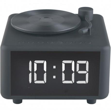 Réveil numérique Enceinte Bluetooth Chargeur à induction Platine Tourne-disque Noir