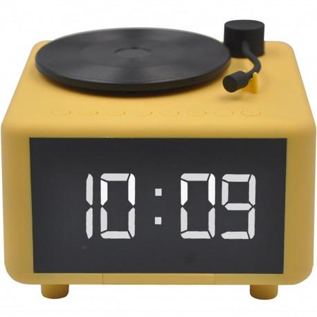 Réveil numérique Enceinte Bluetooth Chargeur à induction Platine Tourne-disque Jaune