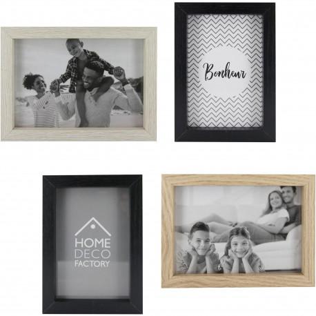 Cadres Photos muraux Set de 4 assortis 2 vues 10x15cm et 2 vues 13x18cm Bois beige et noir