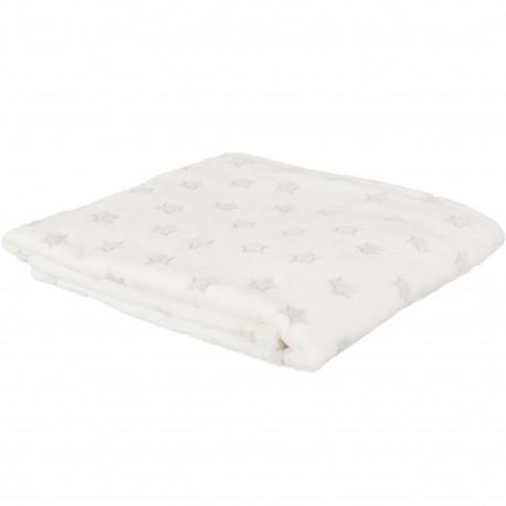 Plaid couverture Enfant Phosphorescent Etoiles 120x150cm Blanc