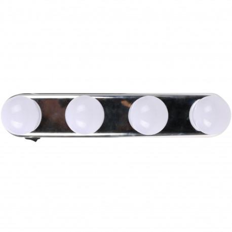 Barre lumineuse à ventouses Lampe studio lumineux mural Hollywood 4 ampoules LED Blanc et gris chrome