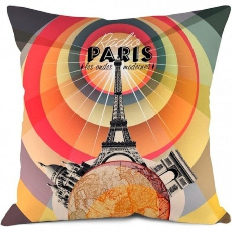 Housse de coussin Monuments Radio Paris Orange et gris