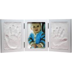 Cadre-photo et moulage Empreintes bébé triptyque Blanc