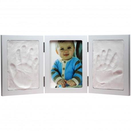 Cadre-photo moulage Empreintes bébé triptyque Blanc
