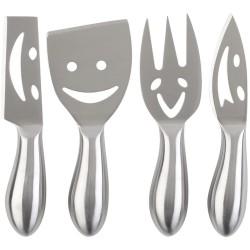 Couteaux et fourchette à fromage Happy cheese Gris inox Set de 4 assortis