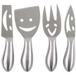 Couteaux et fourchette à fromage Smiley Happy cheese Gris Set de 4 assortis