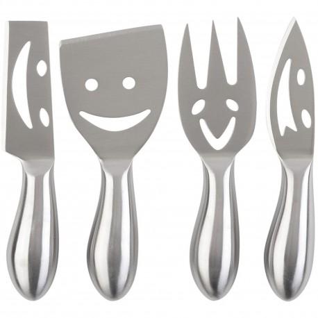 Couteaux et fourchette à fromage Smiley Happy cheese Gris Set de 4 assortis