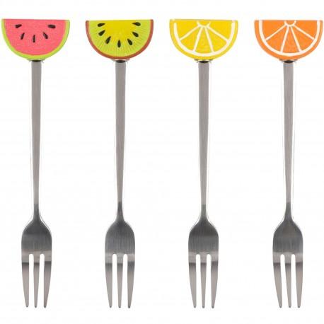 Fourchettes à dessert Fruits Set de 4 assorties